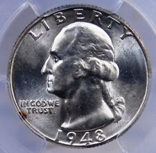 1948 D WASHINGTON QUARTER PCGS MS 65 SATINY WHITE GEM LOOKS BETTER