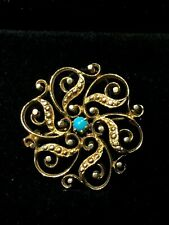 Antique Islamic 19th Century Qajar Dynasty Solid Gold Persian Turquoise Brooch