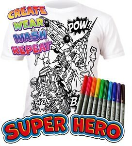 Splat Planet Colour-in Superhero T-Shirt 10 Magic Pens-Colour-in and Wash Out
