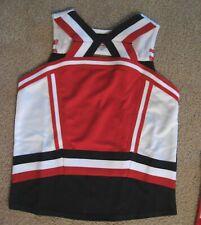 Girls Youth Large Cheerleading Cheerleader Uniform Top Shirt Red Black White