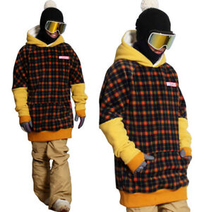 20-21 New December long tall hoodie ski snowboard zipper-POP RETRO CHECK ORANGE