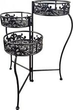 Lilly Folding Trio Plant Stand Charcoal Grey Indoor Outdoor Flower Pot Display