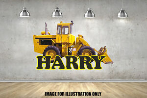 Digger J Personalised C Name B Text Childrens Wall Stickers Kids Wall Art Vinyl