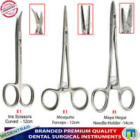 Medical Dental Dissecting Scissors + Forceps + Hemostat Surgical Locking Pliers