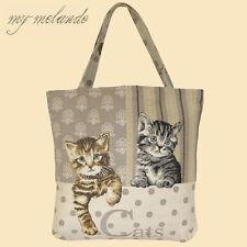 Gobelin Tragetasche Shopper Kätzchen Katzen getigert braun 45x45 bunt gewebt NEU
