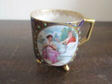 Antigue Mitterteich Bavaria Germany Demitasse Cup Romantic Couple Cobalt Blue