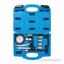 SILVERLINE 8PC PETROL ENGINE COMPRESSION TESTER KIT VALVE TIMING GAUGE CYLINDER