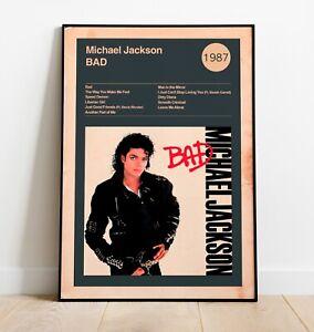 Michael Jackson Art Print, BAD Album Print, Album cover Artwork, Wall Art