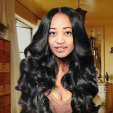 Black Curly Wavy Wig Brazilian Remy Human Hair Body Wave No Lace Front Hair New