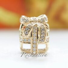 Authentic Pandora 14K Gold All Wrapped Up Clear CZ Charm 750839CZ