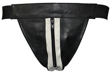 Men's Leather Jock Strap W/Gray Leather Stripe Zipper Underwear Brand New