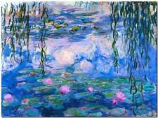 CLAUDE MONET ~ Water lilies Pink  ~ *FRAMED* CANVAS ART Poster ~ 24x16""