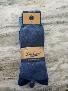 NWT Men's Lucky Brand Crew Socks 3 Pair Pack Blue Size 10-13