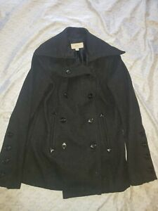 Merona Black Button Down Wool Coat Jacket SZ Small Warm Collared