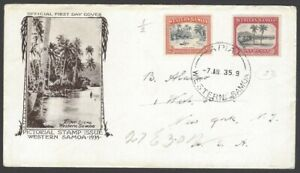 76 Western Samoa 1935 1d Apia & 2d River Scene illustrated FDC First Day cover