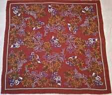 "VINTAGE EQUESTRIAN FLORAL ART CARRIAGES FLOWERS BROWN WOOL BLEND 54""SQUARE SCARF"