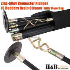 Drain Cleaner Cleaners 10 Rod Zinc Alloy Plunger Connector Carry Bag
