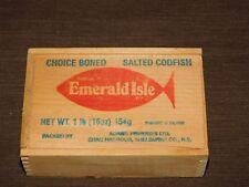VINTAGE ADAMS FISHERIES SHAG HARBOUR NS EMERALD ISLE SALTED CODFISH BOX
