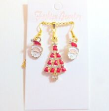 Christmas Tree and Santa Festive Christmas Necklace and Earring Set on gift card
