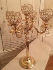 5 Arm 25in Gold Crystal Candelabra Wedding Centerpieces Votive Candle Holders