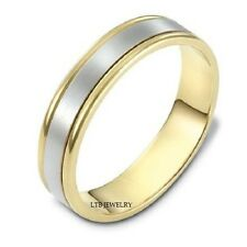 TWO TONE GOLD WEDDING RINGS,14K WHITE & YELLOW GOLD MENS WOMENS WEDDING BANDS