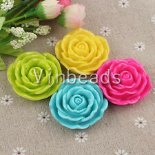20pcs 45mm Mix Resin Rose Flower with Hole for Pendant Charm Bracelet Necklace