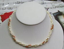 Triple Strand Fresh Water Pearls With Genuine Coral And 14K GF Necklace. FWCN04