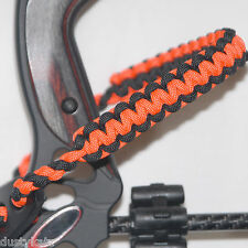 Archery bow wrist strap Neon Orange & Black paracord Bling Sling FREE SHIPPING