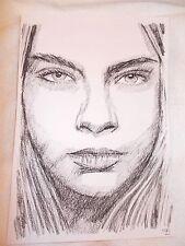 A4 carbón Dibujo actriz modelo Cara Delevingne