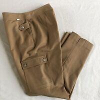 ST JOHN Yellow Label Khaki Pants size 6 High Rise Waist w/ Cargo Pocket Straight