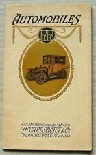 PICCARD, PICTET & CIE PIC PIC Car Sales Brochure 1912 FRENCH TEXT