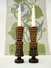 MID CENTURY MODERN, MIDDLE EUROPEAN ? CARVED WOOD 'KING' CANDLESTICKS. 20.4 CM.
