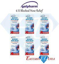 GALPHARM Blocked Nose Relief Nasal Spray Oxymetazoline Hayfever Catarrh x 6
