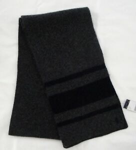 NWT Ralph Lauren Men's Rugby Stripe Wool Cashmere Blend Scarf One Size NEW $78