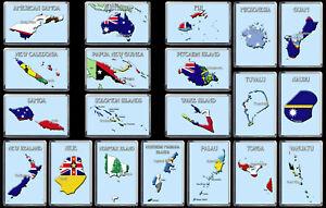 AUSTRALIA & OCEANIA COUNTRIES Flag Map Fridge Magnets