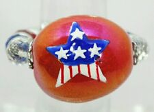 "AMERICAN FLAG Star 1"" Red Blue & White  Bead Stretch Band Cocktail Ring Gift"