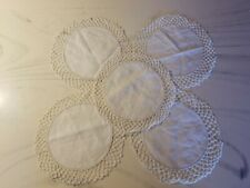 """New listing Vintage Lot Of 5 White Round Pure Linen With Decorative Edge 8"""" Doilies"""