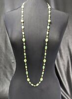 Lovely Vintage  Faux Jade Green Colour Art glass Link Necklace