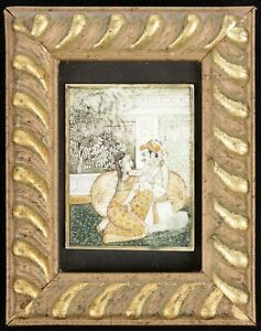 Vintage Small Indian Hand Painted Miniature Mughal Scene Man Woman Lovers Framed