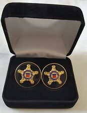 USSS US Secret Service Gold Cuff links With High Relief And Black Box