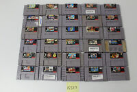 30 Super Nintendo SNES Games Ms Pac-Man, NBA Jam, Wario's Woods, Street Fighter