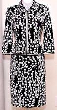 NEW ST.JOHN Collection Womens Black White Knit Zip Jacket & Skirt Sz 12-14