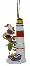 Santa On A Moose Decorating a Lighthouse  Christmas/ Everyday Ornament