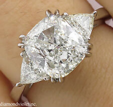 SHY 3.00CT ESTATE VINTAGE CUSHION DIAMOND 3 STONE ENGAGEMENT WEDDING RING PL EGL