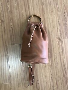 Vintage GUCCI LEATHER BAMBOO HANDLE BROWN BACKPACK SHOULDER BAG