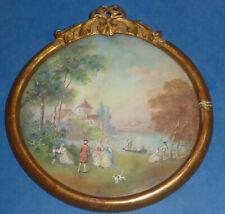 petit cadre médaillon tableau dessin pastel style Louis XVI ancien XIX ème