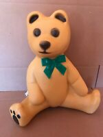 Blow Mold Plastic Light Up  Brown Christmas Teddy Bear  With Green Bow Union New