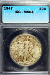 1947 - ICG MS64 Walking Liberty Half Dollar!!  #B17054