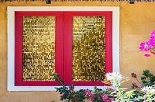 3D Gold Glitter I296 Window Film Print Sticker Cling Stained Glass UV Block Amy