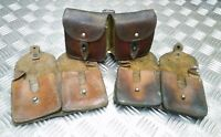 Genuine Vintage Military Issue Double Leather Ammo / Utility Pouch - Used